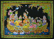 Indian Radha Krishna on a Boat Ride Sequined Wall Hanging * Fair Trade * Large