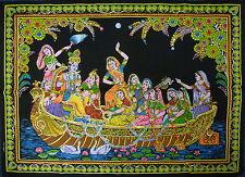 Indienne RADHA KRISHNA Sur Un Bateau Ride à Paillettes Tenture Murale * Commerce