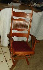 Quartersawn Oak Carved Glider Rocker / Rocking Chair  (JLC)  (R17)