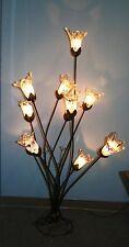 11 LIGHTS  WROUGHT IRON FLOOR LAMP  PURPLE  GLASS SHADES