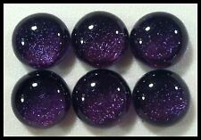 6 TWINKLE Round PURPLE Fused Glass DICHROIC Cabochons NO HOLE Flat Back Beads