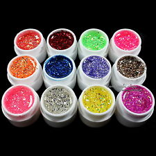 12 pcs Mix Color Glitter Hexagon Sheet Nail Art UV Builder Gel False Tips Set