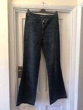 Vintage Diesel Dark Blue Indigo Tech Denim Back Zip Star Stitch Flared Jeans,30