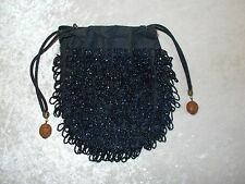 Antique Vintage Hiawatha Black Beaded Drawstring Purse