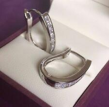 A06 Silver (white gold gf) sim diamond horseshoe hoop earrings 22x5mm Plum UK