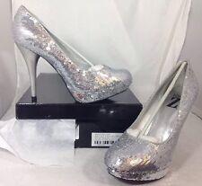 NEW TYPE Z Silver Sequin High Heels Women's Shoes Size 9 1/2 Shiny Dress SlipOn