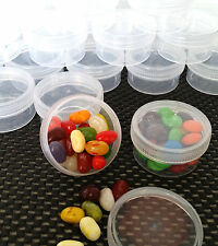 9 JARS Wide Mouth 1 oz Small Container Plastic Clear Screw Cap 5303 DecoJars USA