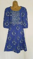 Monsoon Blue Floral Dress Size UK 10 Tie Waist Knee Length Frill