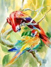 TROPICAL ROMANCE Parrots 20x28 Giclee Art Painting Canvas **SALE