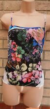 WAREHOUSE MULTI COLOUR BLUE FLORAL STRAPPY SUMMER SILKY FEEL TOP CAMI BLOUSE L