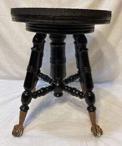 Antique Victorian Clawfoot Wood Piano Stool Turned Wood Legs Ebonized