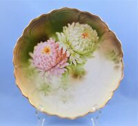 ANTIQUE GERMANY PLATE CHRYSANTHEMUM GOLD HAND PAINTED