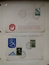 2) 1950's Finland Stamp Covers - Skiing & Special Cancellation 1950 - 55