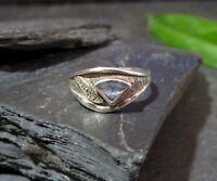 Feiner 925 Silber Ring GRT Designer Signiert Aquamarin Blau Topas Zirkonia Edel
