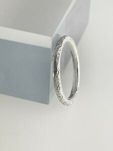 Solid Sterling Silver 2mm Sparkly Hammered Stacking Ring Sizes H-Z  Handmade UK