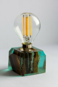 Gentle blue Epoxy resin wood lamp