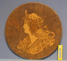 """1908 OLD PYRO ART ORIGINAL ART NOUVEAU LADY WALL PLAQUE 11 1/2"""" DIA ** ON SALE**"""