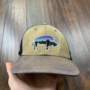 Patagonia Fitz Roy Bison Logo Trucker Hat Cap Mesh Gray Embroidered Buffalo Tan