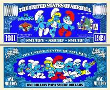 Smurfs Million Dollar Bill Collectible Fake Play Funny Money Novelty Note