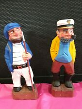Vintage Wooden Carved Fisherman and Pirate Nautical Folk Art Figurines 6 inch