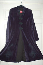 ** NEW Sz XL Nomads Fair Trade Velvet Aubergine Purple Black Embroidery Coat