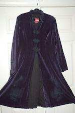 NEW Sz XL Nomads Fair Trade Velvet Aubergine Purple Black Embroidery Coat
