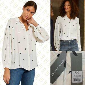 New Mint Velvet Ivory Circle Embroidered Crepe Shirt Blouse RRP £79 Sizes 8-18