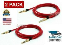 2 PACK  3.5mm Male to Male Aux Cable Cord Car Audio PC Headphone Jack Red 4FT