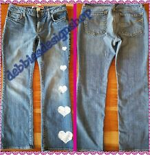 Embelished Gently Used Women's Gap Curvy Flare Jeans Size 8A W/Sexy Heart Lace