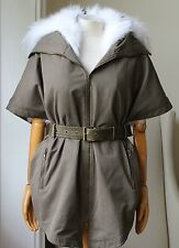 Armée par YVES SALOMON Twill & Fur Belted Cape Coat FR 34 UK 6