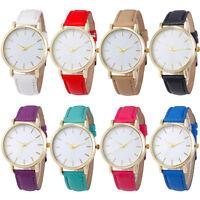 Fashion Simple Quartz Watch Men Women Leather Brand Gold Dia Casual Wrist Watch