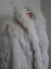 Crema Bianco Silver Shadow FOX FUCHS VOLPE RENARD Vera Pelliccia Cappotto Giacca МЕХ ШУБА