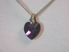 Iridescent Purple  Heart pendant Silver Setting & box Chain 16 inches