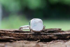 Moonstone Sterling Silver Ring Gemstone 925 Fine Silver Cushion Handmade Ring