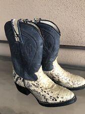 Kid's Vintage JR Leather & Lizard Western Cowboy Boots Size 6 1/2  VG