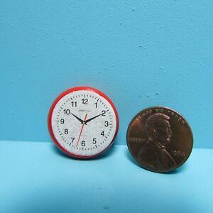 Dollhouse Miniature Modern Wall Clock in Red T8453