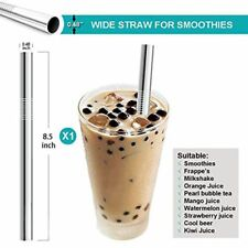 5pcs Stainless Steel Metal Straws Wide 12mm Reusable Drinking Straws Hot Sale