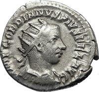 GORDIAN III 243AD Silver Authentic Genuine Ancient Roman Coin SOL SUN  i67352