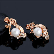 Fashion 18K Gold Plated Pearl Hoop Imitation Pearls Earrings Rhinestone Ring