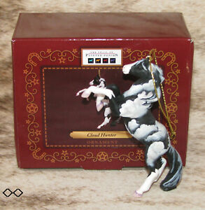 """TRAIL OF PAINTED PONIES Cloud Hunter 2016 Ornament~3.5"""" Tall~Black & White Paint"""