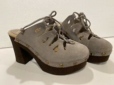 Sbicca Isold Tan Suede Leather Clog Women's Size 10