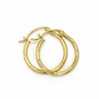 15mm 9ct Gold Frosted Sleeper Hoops Creole Earrings / Creoles / Hoops