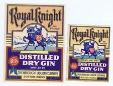 Royal Knight, Gin American Liquor co, Boston Mass 2 antique bottle labels #38