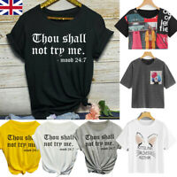 Women Fashion Casual Round Neck Letter Fit Short Sleeve T-Shirt Top Blouses UK