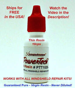 PowerTech Thin Auto Glass Windshield Rock Chip Crack UV Repair Resin .5 oz 15 ml