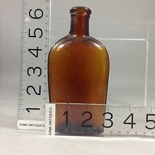 Vintage Mold Blown Whiskey Bottle Brown Marked S 1890's