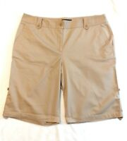 Talbots Est 1947 Womens 14 Khaki Chino Shorts Roll Tab Hem Stretch Cotton EUC