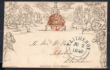 1840 Mulready 1d Stereo A137 with red MC. CLITHEROE blue D/C cancel. Fine!