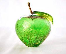 Murano Glass Blown Apple Figurine, Made in Italy