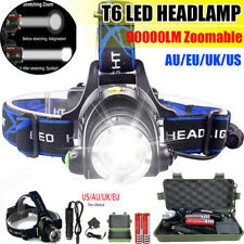 90000LM Rechargeable T6 LED Head Torch Light Headlamp Flashlight Lamp Waterproof